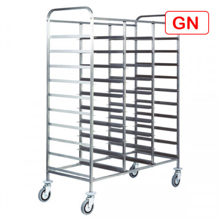 CARRELLO INOX PER 30 VASSOI GN1/1 110X62 H175