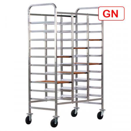 CARRELLO INOX RINFORZATO PER 30 VASSOI GN1/1 110X62 H175