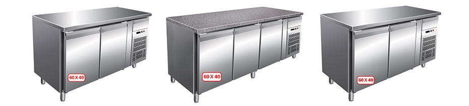 banco pizza refrigerato professionale per cassette da cm.60x40